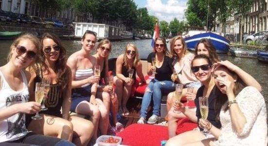 private boat with drinks amsterdam